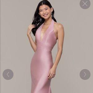 Long Deep-V-Neck Halter Formal Dress